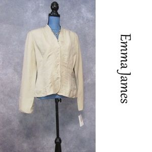 NWT Emma James Linen Blend Blazer Embroidered 14P